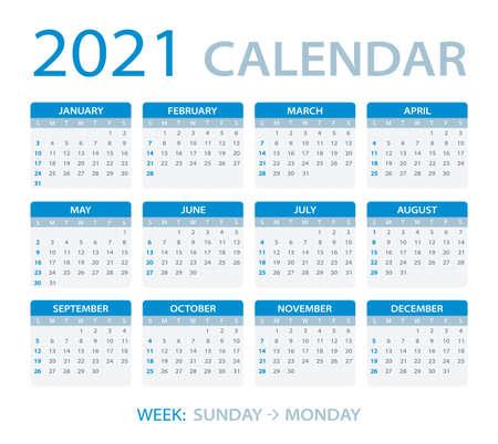 Kalender 2021 - Sonntag bis Montag - Vektorvorlage