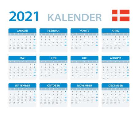 Vector template of color 2020 calendar - Denmark version Vettoriali