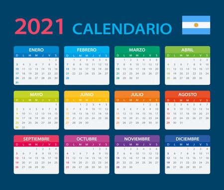 Vector template of color 2021 calendar - Argentinian version