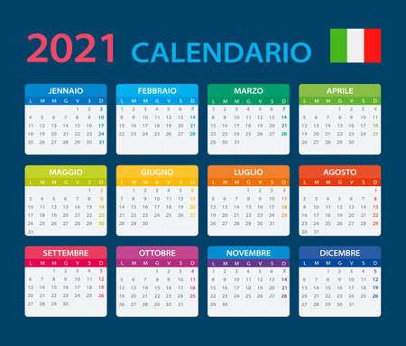Vector template of color 2021 calendar - Italian version Archivio Fotografico - 150582480