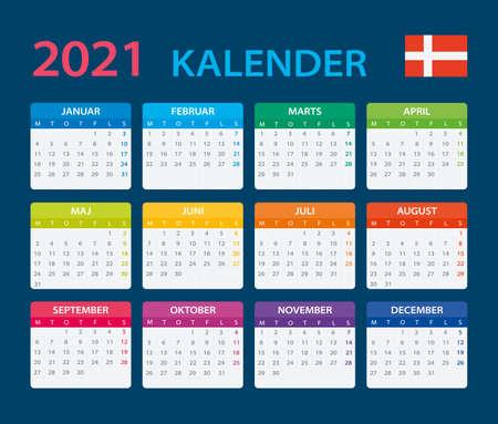 Vector template of color 2021 calendar - Danish version Vettoriali