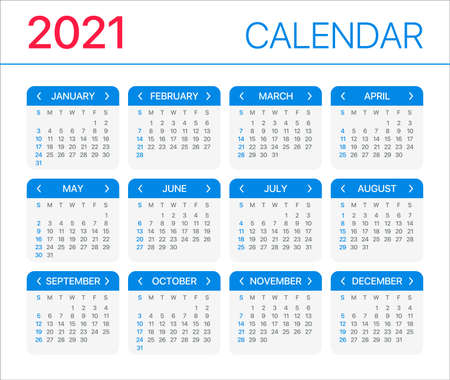 2021 calendar - Sunday to Sunday - Vector Template Archivio Fotografico - 150582492