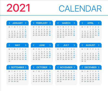 2021 calendar - Monday to Sunday - Vector Template Vettoriali