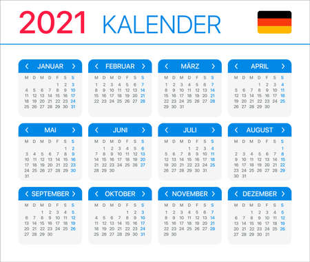 2021 calendar - German version - Vector Template Archivio Fotografico - 150582495
