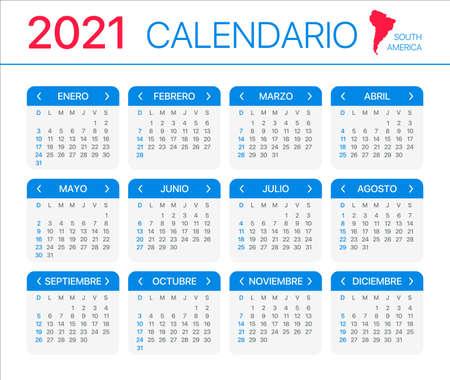 2021 calendar - Spanish Version - Vector Template