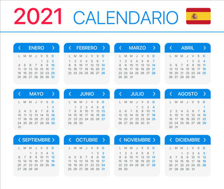 2021 calendar - Spanish South Latin American Version - Vector Template Archivio Fotografico - 150582497