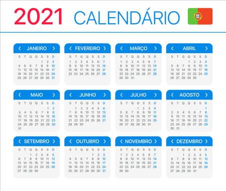 2021 calendar - Portuguese version - Vector Template