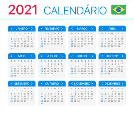 2021 calendar - Brazilian version - Vector Template Vettoriali