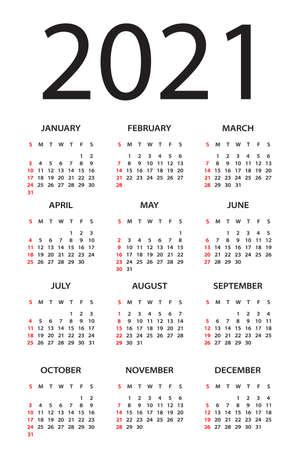 Calendar 2021 year - vector illustration. Week starts on Sunday