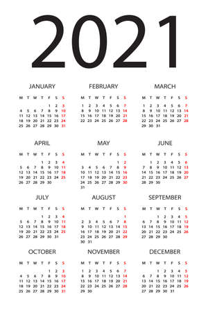 Calendar 2020 year - vector illustration. Week starts on Monday Vettoriali