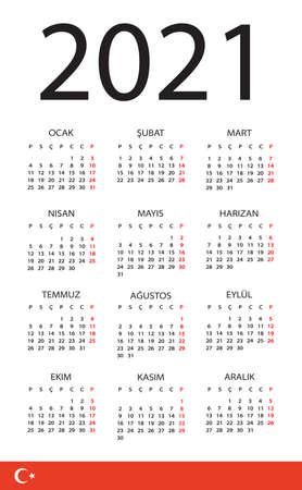 Vector template of color 2021 calendar - Turkish version