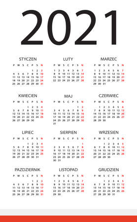 Vector template of color 2021 calendar - Polish version