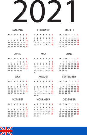 Calendar 2021 year - vector illustration. English version. Week starts on Monday Archivio Fotografico - 150660733
