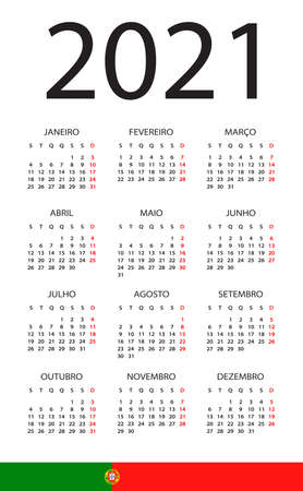 Calendar 2021 year - vector illustration. Portuguese version Archivio Fotografico - 150660734