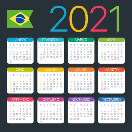 Vector template of color 2021 calendar - Brazilian version Archivio Fotografico - 151088351