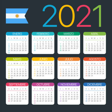 Vector template of color 2021 calendar - Argentinian version Archivio Fotografico - 151088352