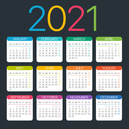 Vector template of color 2021 calendar - Monday to Sunday Archivio Fotografico - 151088356