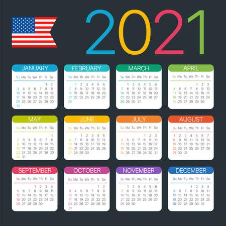 2021 calendar -American version - Vector template Vettoriali