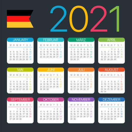 Vector template of color 2021 calendar - German version