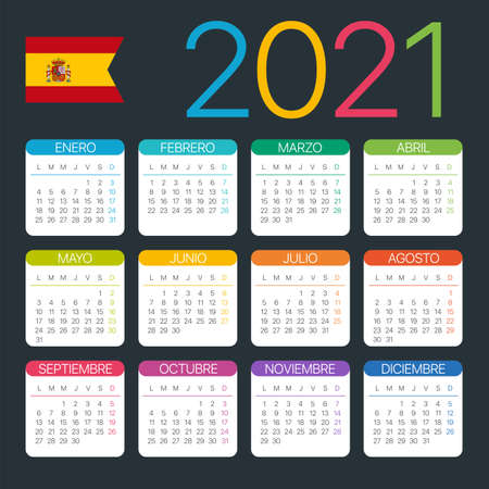 Vector template of color 2021 calendar - Spanish version Archivio Fotografico - 151088360