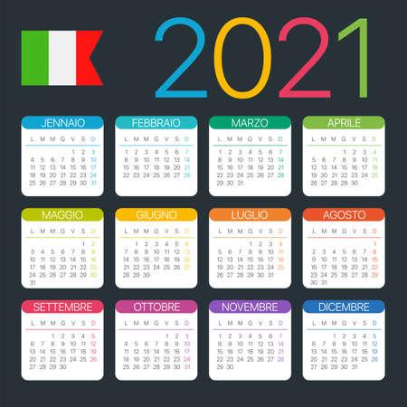 Vector template of color 2021 calendar - Italian version