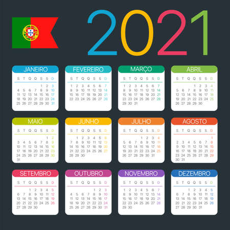 Vector template of color 2021 calendar - Portuguese version Archivio Fotografico - 151088362