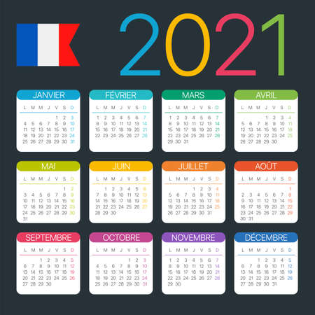 Vector template of color 2020 calendar - French version Archivio Fotografico - 151088363