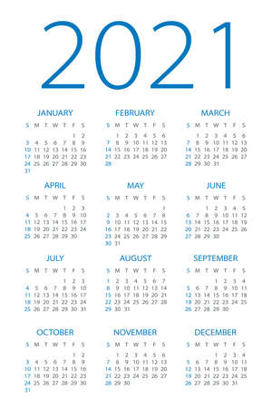 Calendar 2021 year - vector illustration. Week starts on Sunday Archivio Fotografico - 151088366