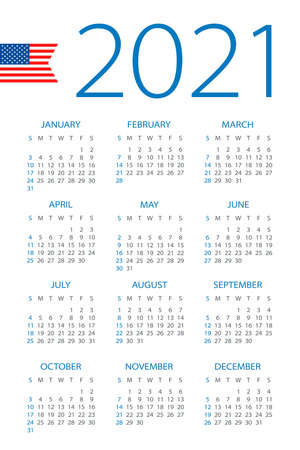 Calendar 2021 year - vector illustration. American version. Week starts on Sunday Archivio Fotografico - 151088368