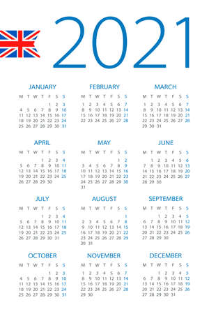 Calendar 2021 year - vector illustration. English version. Week starts on Monday Vettoriali