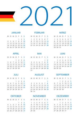 Calendar 2021 year - vector illustration. Gerrman version