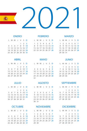Calendar 2021 year - vector illustration. Spanish version Archivio Fotografico - 151088371