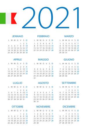 Calendar 2021 year - vector illustration. Italian version Vettoriali