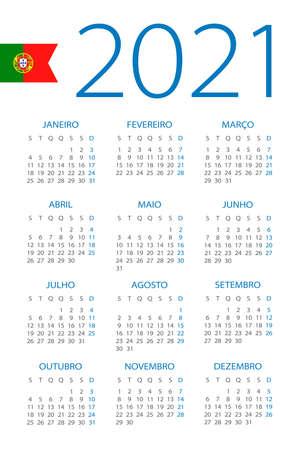 Calendar 2021 year - vector illustration. Portuguese version