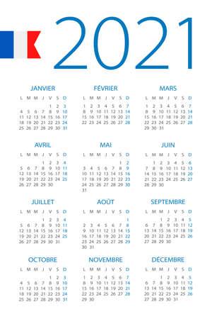 Calendar 2021 year - vector illustration. French version Archivio Fotografico - 151088374