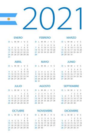 Calendar 2021 year - vector illustration. Argentinian version