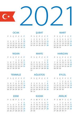 Calendar 2021 year - vector illustration. Turkish version Archivio Fotografico - 151088377