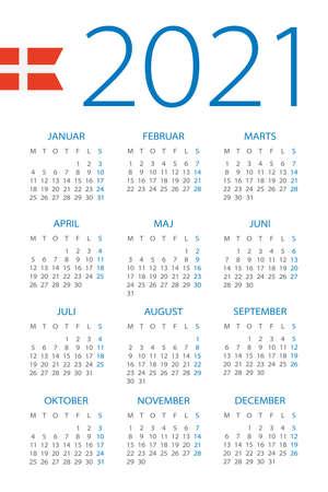 Calendar 2021 year - vector illustration. Danish version Archivio Fotografico - 151088378
