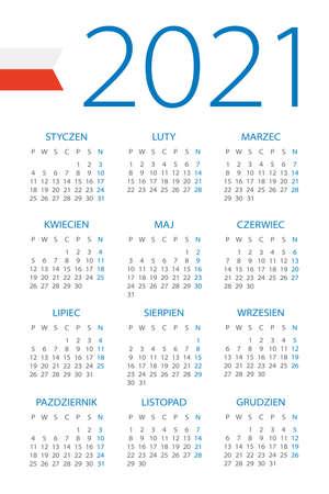 Calendar 2021 year - vector illustration. Polish version