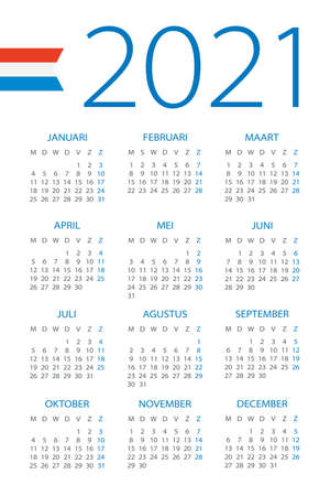 Calendar 2021 year - vector illustration. Dutch version