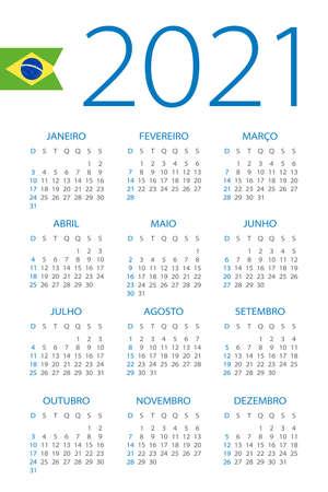 Calendar 2021 year - vector illustration. Brazilian version Vettoriali