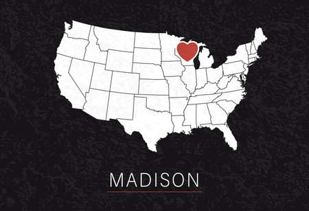 Love Madison Picture. Map of United States with Heart as City Point. Vector Illustration