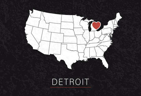 Love Detroit Picture. Map of United States with Heart as City Point. Vector Illustration