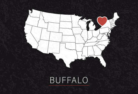 Love Buffalo Picture. Map of United States with Heart as City Point. Vector Illustration