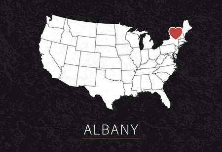 Love Albany Picture. Map of United States with Heart as City Point. Vector Illustration 矢量图像