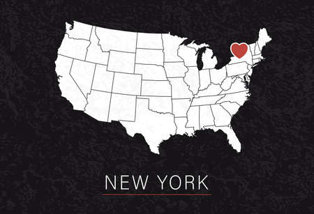 Love New York Picture. Map of United States with Heart as City Point. Vector Illustration