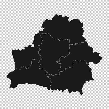 Belarus Map - Vector Solid Contour and State Regions on Transparent Background. Illustration