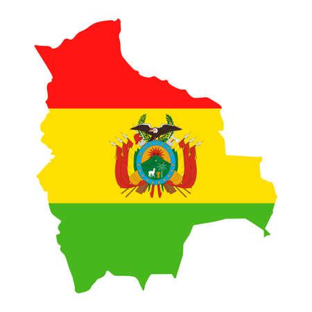 Bolivia Map Flag Fill Background - Vector illustation. Illustration