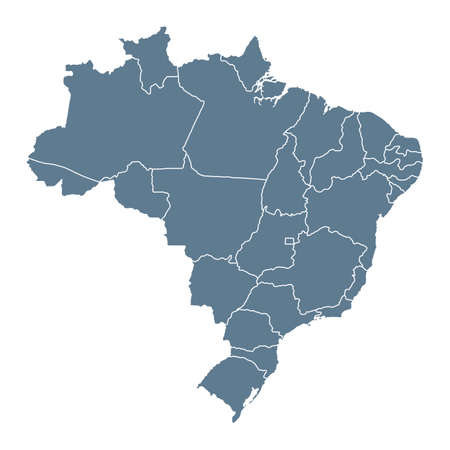Brazil Map - Vector Solid Contour and State Regions. Illustration Vector Illustration