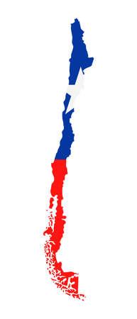 Chile Map Flag Fill Background - Vector illustation. Illustration
